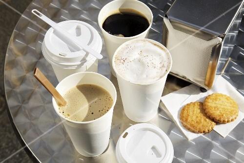Various take-away coffee cups