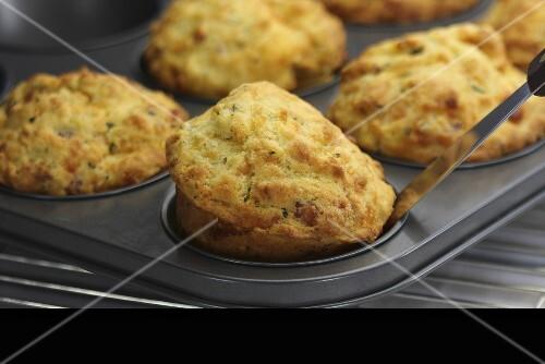 Savoury muffins in a muffin tin