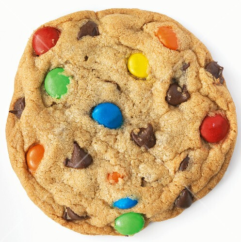 M&M Chocolate Chip Cookie; White Background
