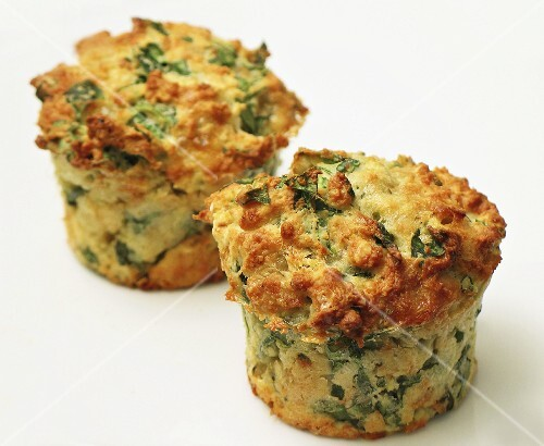 Two cheese and spinach muffins