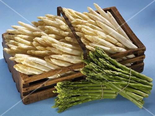 White asparagus in wooden basket, 2 bundles of green asparagus