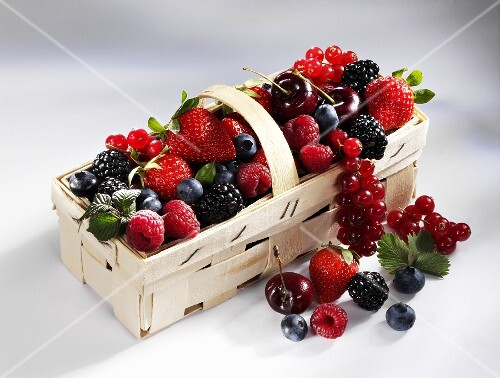 Mixed berries in a basket