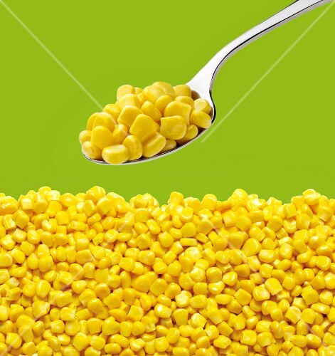 Tinned sweetcorn on a spoon