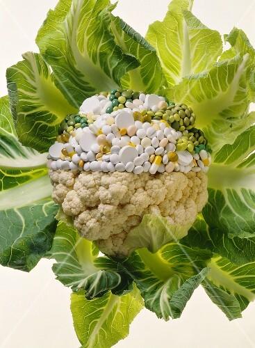 Cauliflower, half consisting of pills