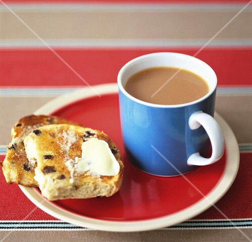 Toasted teacake with tea (UK)