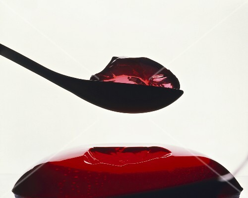 Red jelly with spoon