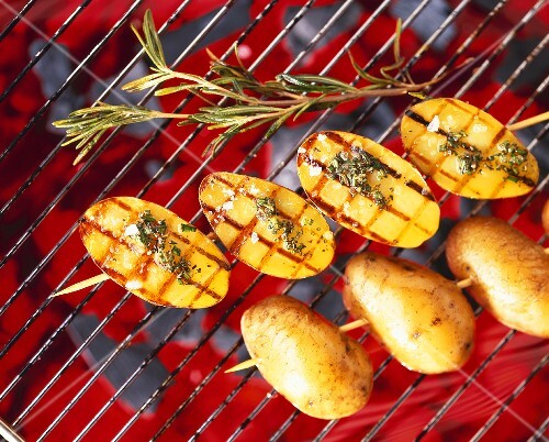 Rosemary potatoes on a barbecue