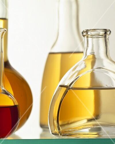 Oil in various bottles