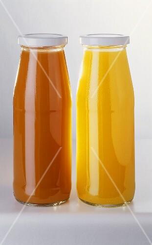 Two bottles of fruit juice