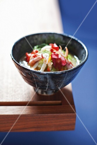 Miso soup with seafood in bowl