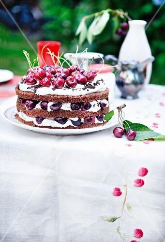 Cherry cake with poppy seeds
