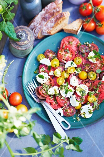 Tomato salad with goat's cheese and a mint vinaigrette