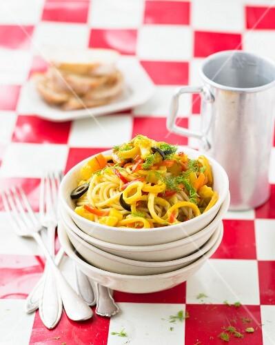 Spaghetti with squid ragout