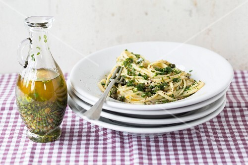 Linguine with spicy herb oil