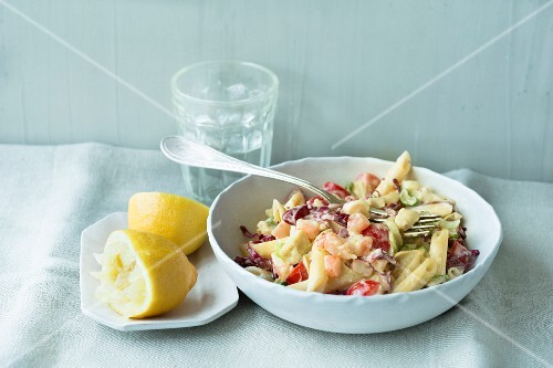 Pasta with prawn salsa
