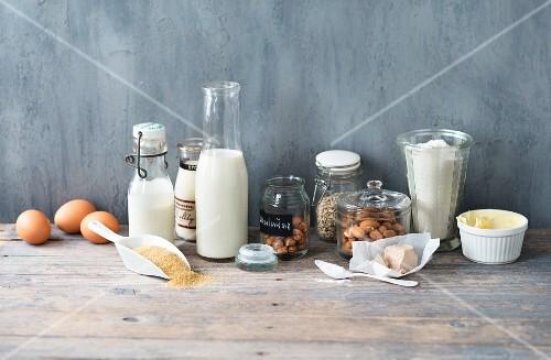 An arrangement of various baking ingredients