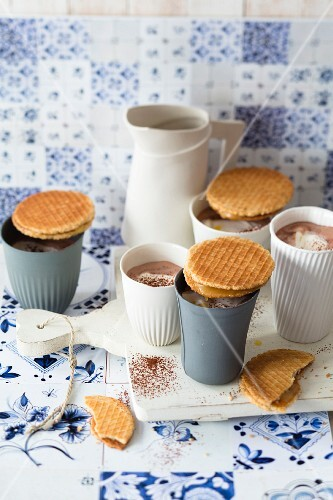Dutch Stroopwaffeln biscuits with cocoa