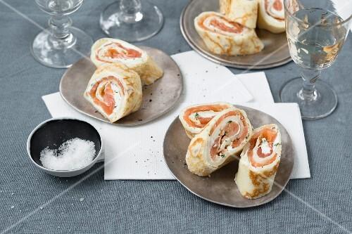 Smoked salmon pancake rolls