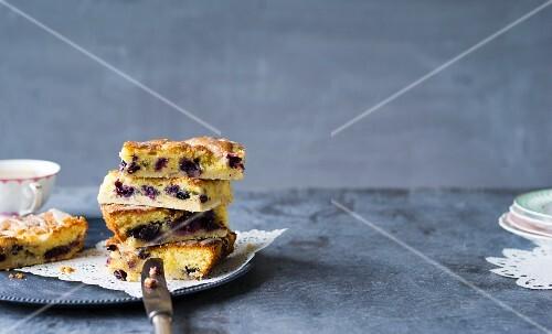 Tray bake blueberry cake with hazelnuts