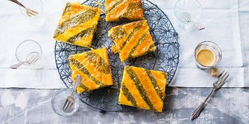 Striped poppyseed tray bake cakes