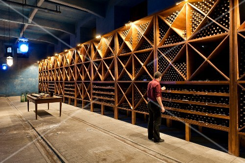 A man standing in front of a bottle shelf in a wine cellar