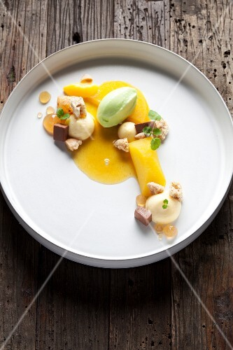 A dessert composition with ice cream and pastries