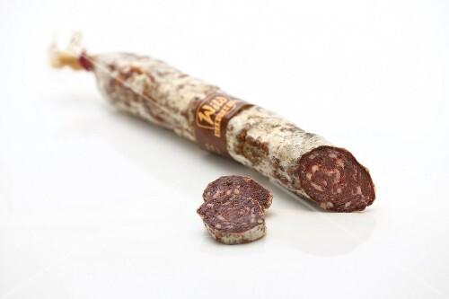 Sliced venison salami