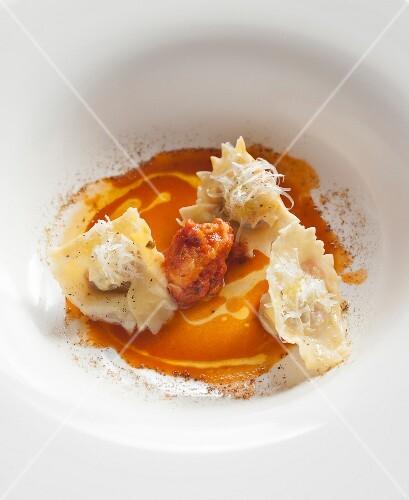 Ravioli in pumpkin sauce