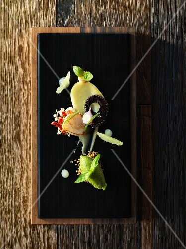 A composition of appetisers featuring scallops, squid and basil sorbet
