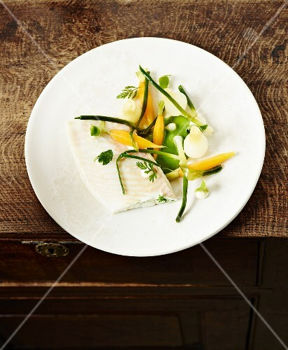 Turbot fillet with spring vegetables
