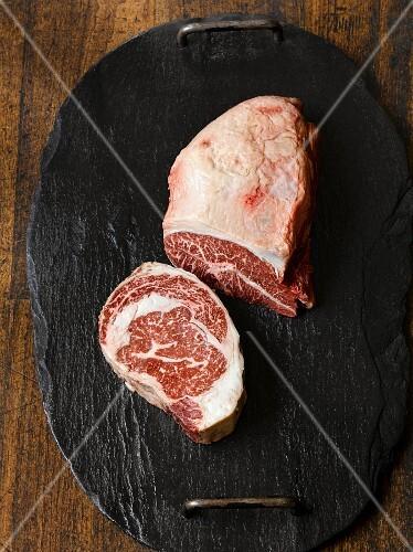 Wagyu steak on a stone platter
