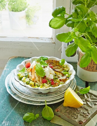 Couscous with vegetables and basil