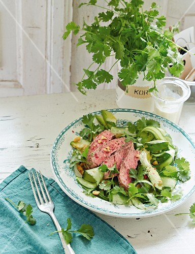 Beef steak on a bed of cucumber with avocado and coriander