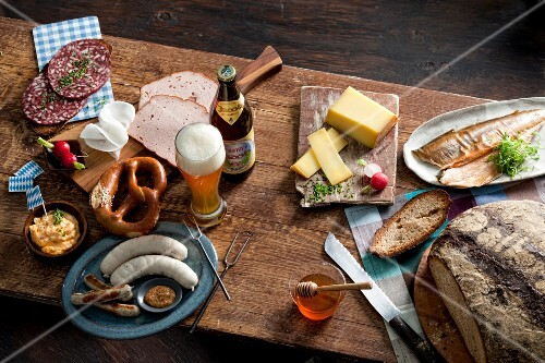 Super featuring cold meats, cheese, fish and beer (Bavaria, Germany)