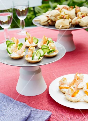 Various canapes for a garden party on a table outside
