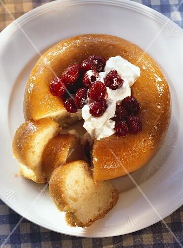 Savarin with raspberries & whipped cream