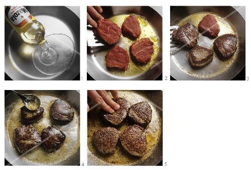 Frying steaks