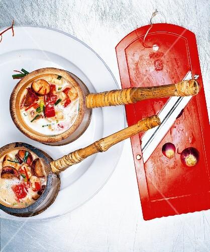 Prawn and aubergine soup