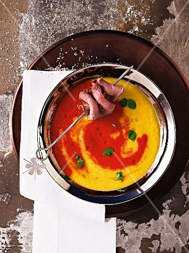 Red and yellow pepper soup