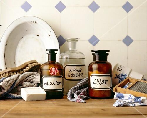 Hydrochloric acid, vinegar, chlorine, soap, wash board, towels and scrubbing brushes