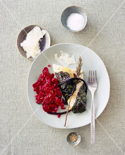 Zander fillet with spelt risotto and beetroot