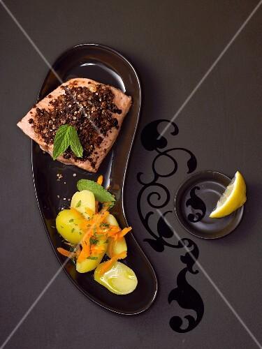 Gratinated salmon and warm potato salad