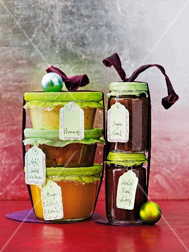 Jars of chutney and jam as Christmas presents