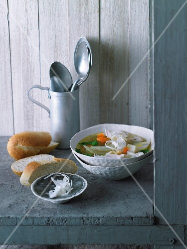 Chicken soup with vegetables and rice noodles
