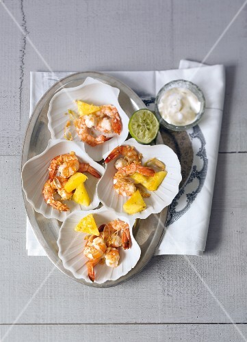 Coconut and pineapple prawns with lime aioli