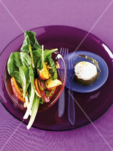 Chard and peach salad with warm goat's cheese