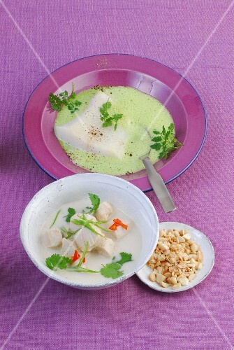 Cream of fish soup with pangasius, and laksa (coconut milk soup) with chicken