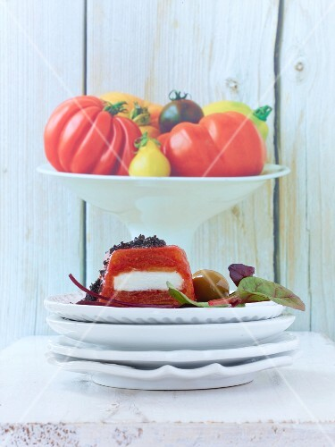 A tomato terrine with goat's cheese