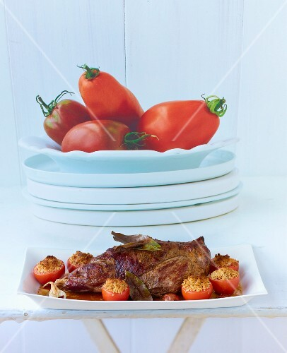 Roast lamb with tomates provencales