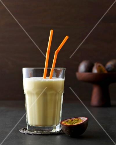 Batida de maracuja: cocktail with Cachaca, passion fruit and milk